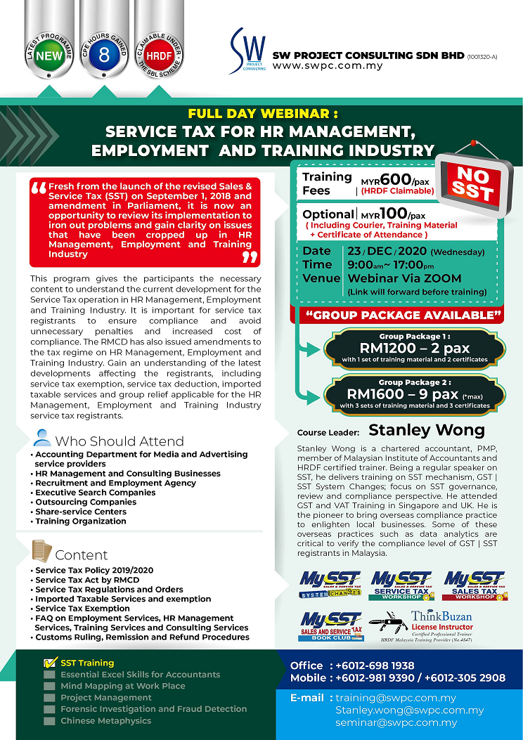 Webinar - Service Tax for HR Management, Employment and Training Industry