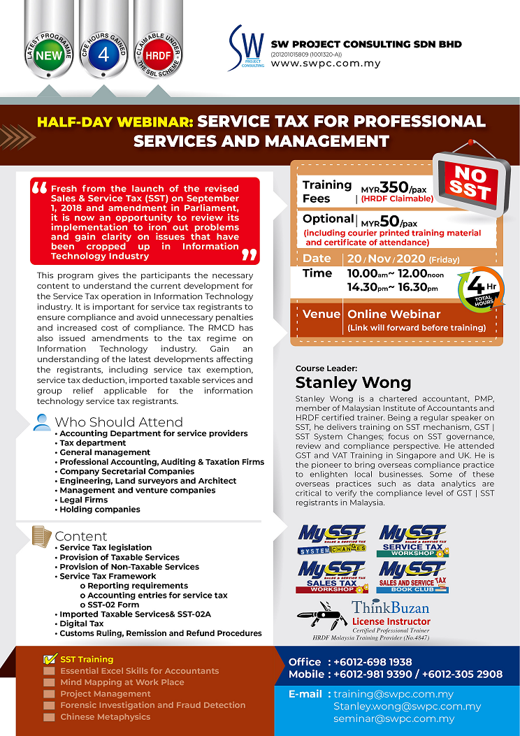 Half-Day Webinar: Service Tax for Professional Service and Management