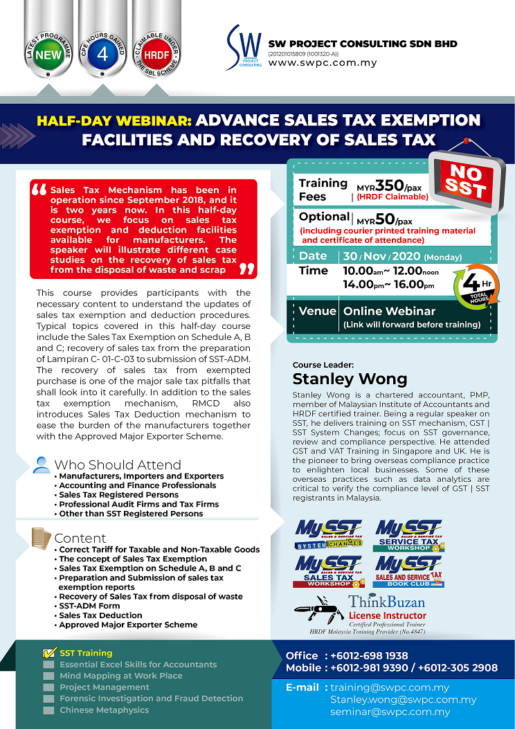Half-Day Webinar – Advance Sales Tax Exemption Facilities and Recovery of Sales Tax