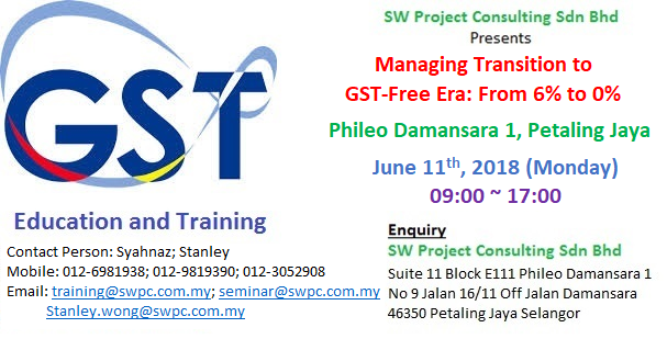GST Training - Managing Transition to GST-Free Era: 6% to 0%