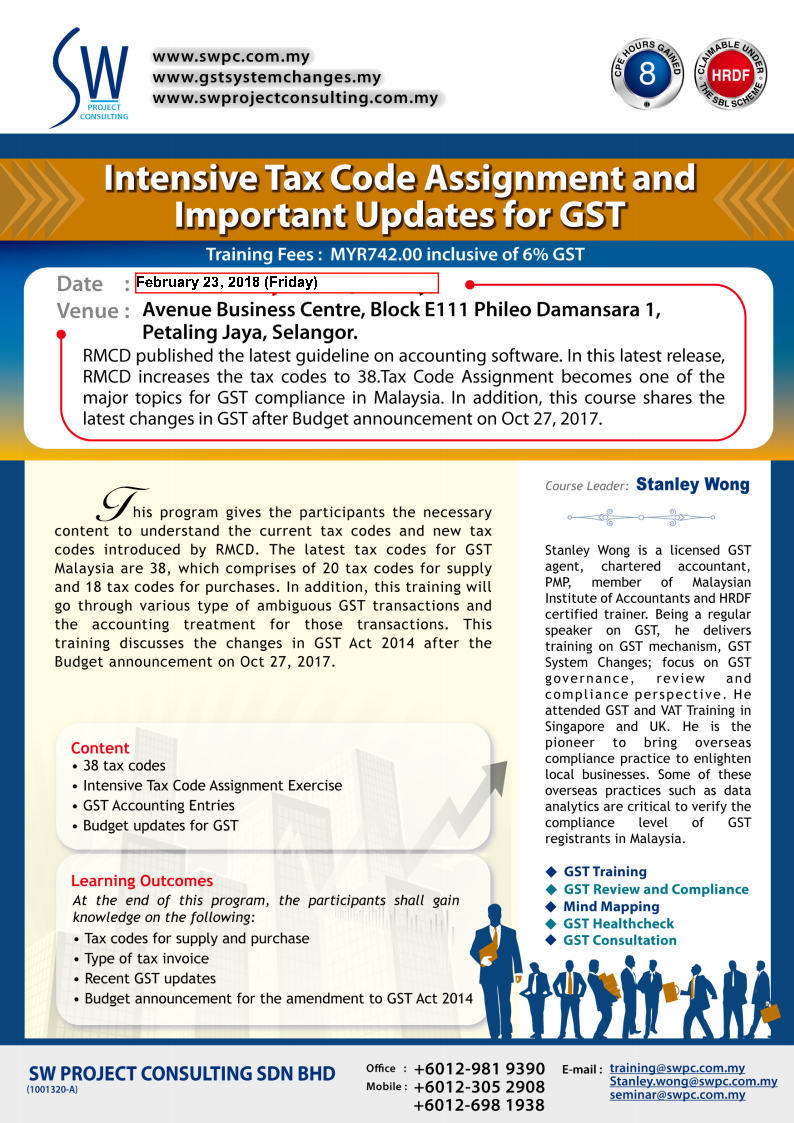 Tax Code Assignment and Important GST Updates