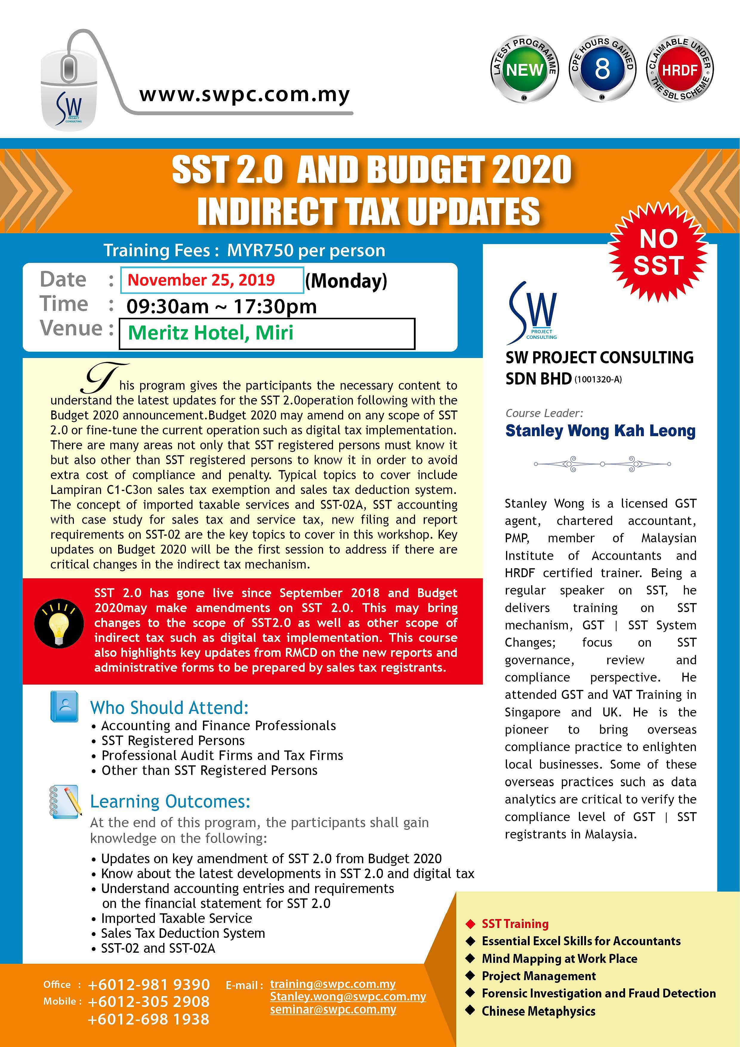 SST 2.0 and Budget 2020 Indirect Tax Updates