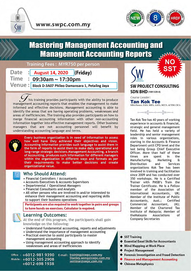 Mastering Management Accounting and Management Accounting Reports